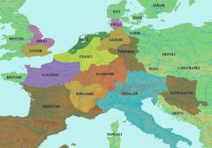 Map of the kingdoms after the fall of the Western Roman Empire