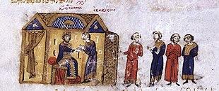 Gagik II surrenders to Constantine IX, Madrid Skylitzes