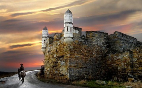 Byzantine walls of the fortress at Kerch, Crimea