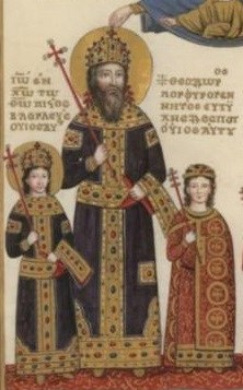 Despot Theodore II Palaiologos (right), his father Emperor Manuel II (center), and brother John VIII (left)