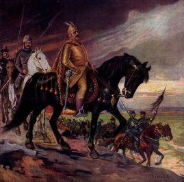 Khan Krum (r. 803-814) leading the Bulgarian horsemen in battle