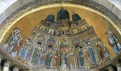Byzantine inspired mosaics, Basilica San Marco based on the Church of the Holy Apostles
