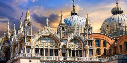 Basilica San Marco, Venice, built in Byzantine style, 1063