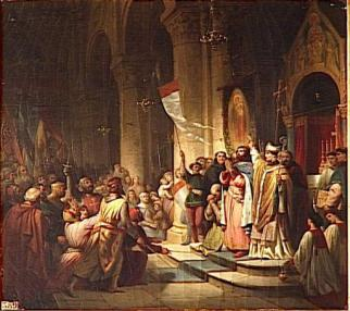 Leaders of the 4th Crusade join together (Boniface I of Montferrat raises his flag)