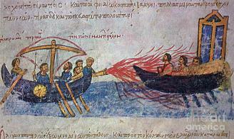 Byzantine Navy in the Madrid Skylitzes attacks Arab fleet
