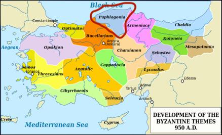 Location of Paphlagonia in Asia Minor