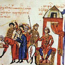Khan Omurtag (r. 814-831) with his army, Madrid Skylitzes