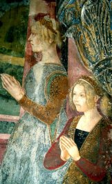15th century fresco of the daughters of William VIII Palaiologos in western fashion