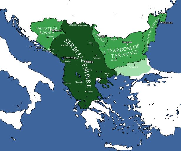 Map of the Serbian Empire (dark green) of Stefan IV Dusan, 1355