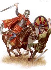 Western Roman cavalryman kills a barbarian