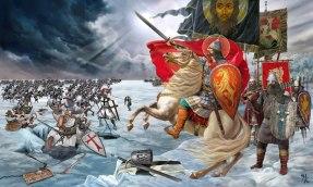 Alexander Nevsky defeats the Teutonic Knights, Battle of Lake Peipus in 1242