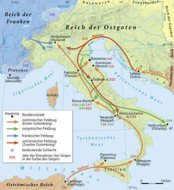 Map of the Reconquest of Italy by Justinian I's generals