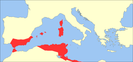 Byzantine Exarchate of Africa (red)