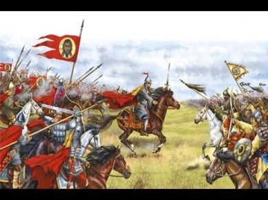 Russian cavalry (left) against the Mongol cavalry (right)