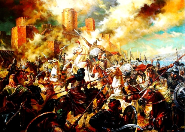 Bulgarian Khan Tervel and his army save Constantinople from an Arab invasion, 718