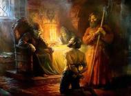 Oprichnik guard hands over a prisoner to Ivan the Terrible
