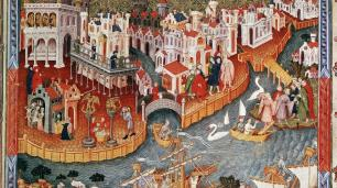 Colored illustration of Medieval Venice