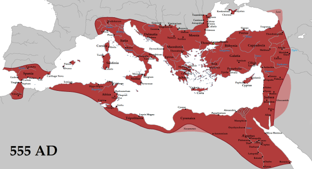 Byzantine Empire at its height (555) under Emperor Justinian I