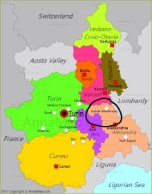 Location of Montferrat in Piedmont, Italy