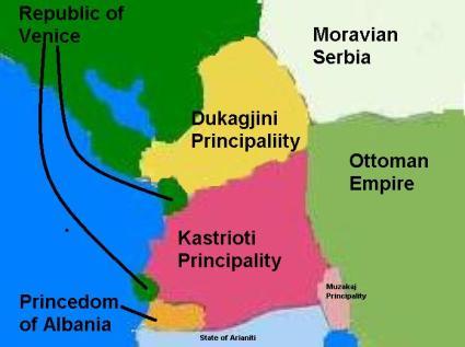 Map of the Albanian principalities