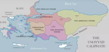 Map of the original 7th century Themes in Constans II's reign