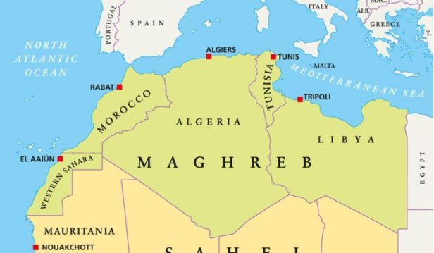 Map of the Maghreb (North-west Africa)