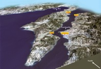 Landscape of the Dardanelles Strait and peninsula