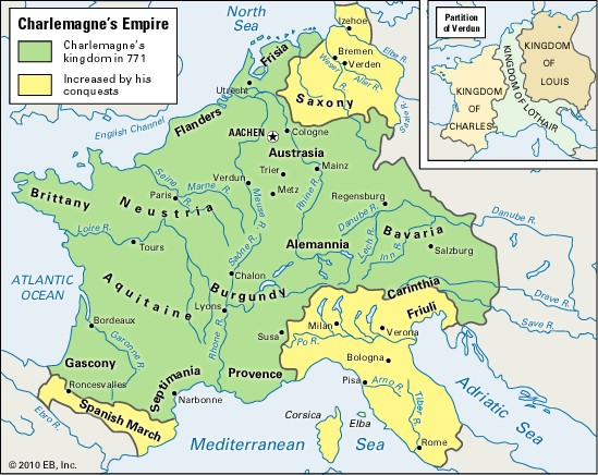 Map of Charlemagne's Holy Roman Empire, 800