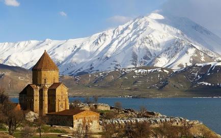 Armenian church overlooking Lake Van