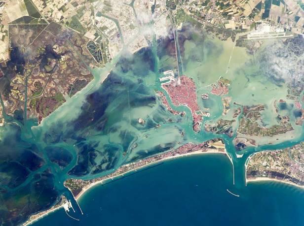 Aerial view of the Venetian lagoon
