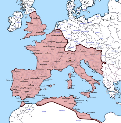 Map of the Western Roman Empire, 395