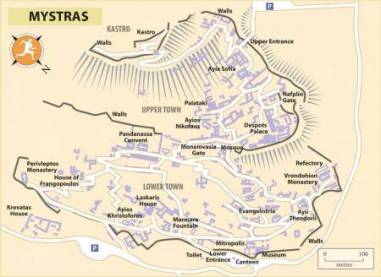 Map of the sites in Mystras