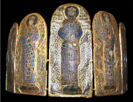 Crown of Constantine IX with co-rulers Empress Zoe (left) and Empress Theodora (right)