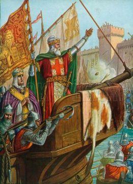 Doge Enrico Dandolo leads the Venetian fleet in attacking Constantinople, 1203