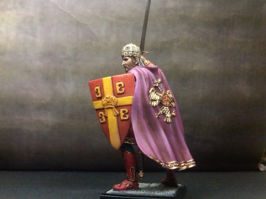 Action figure of Constantine XI in battle