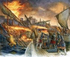 Greek Fire against the Arab Fleet, 2nd Arab Siege of Constantinople, 717-718, Byzantine victory