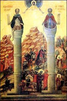 Byzantine Stylite saints above columns