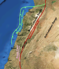 Map of the seismic zone of Beirut, Lebanon