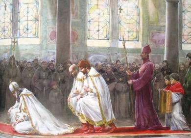 John V bows down before Pope Urban V in Rome, 1369