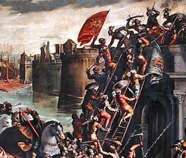 Venetians attack Constantinople's walls, 1203