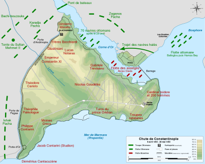 Map of the 1453 Siege of Constantinople
