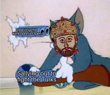 Meme of Constantine XI leaving a gate open