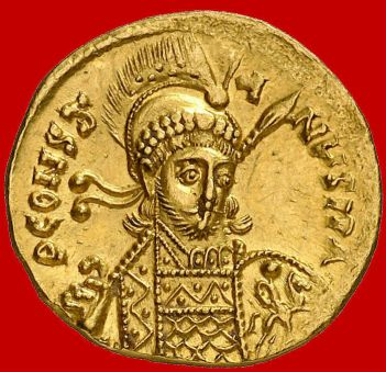 Detailed coin of Emperor Constantine IV