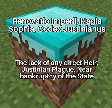 Meme of Justinian I's legacy, the ups and downs