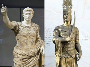 The first Roman emperor Augustus Caesar (left) and last Roman emperor Constantine XI (right)