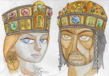 Maria of Antioch and Manuel I drawing