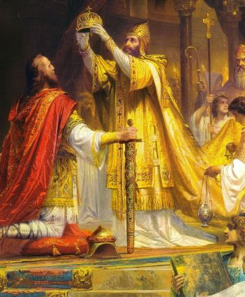 Pope Leo III crowns Charlemagne Holy Roman Emperor in 800