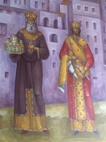 Fresco of Andronikos II (left) and his grandson Andronikos III (right) as co-emperors