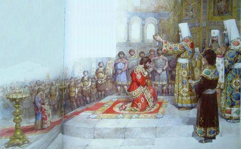 Coronation of Michael VIII Palaiologos as emperor and son Andronikos II as co-emperor in the Hagia Sophia, 1261
