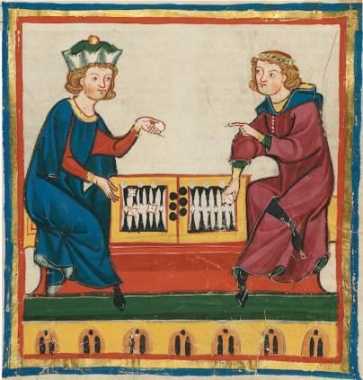 Manuscript depicting Agathias (right) and Justinian I (left)